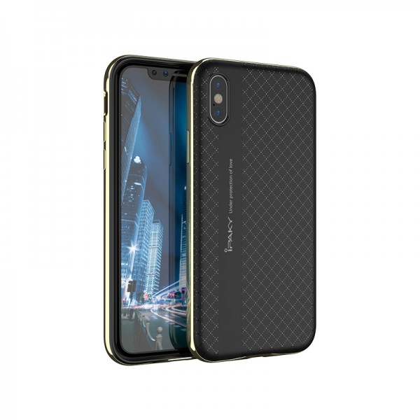 Husa Spate Ipaky Armor iPhone X ,iphone 10 Negru Gold imagine itelmobile.ro 2021