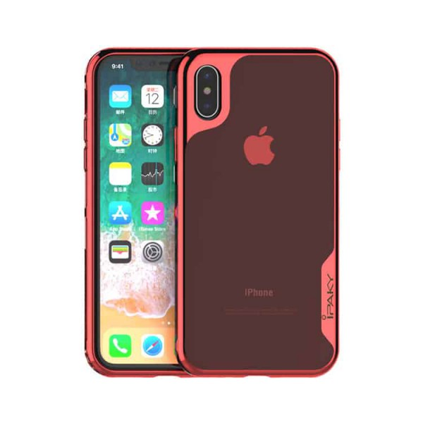 Husa Spate Ipaky Hybrid Top iPhone X, iPhone 10, Rosu Transparent imagine itelmobile.ro 2021