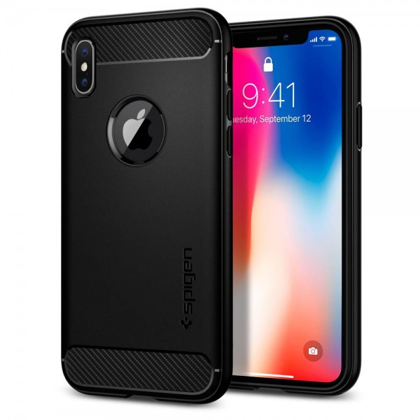 Husa Spigen Rugged Armor iPhone X,xs Negru ,silicon imagine itelmobile.ro 2021