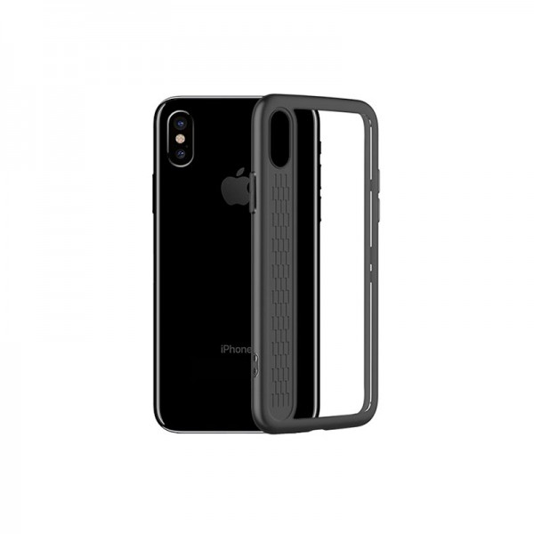 Husa iPhone X Hybrid Hoco Negru Transparent imagine itelmobile.ro 2021