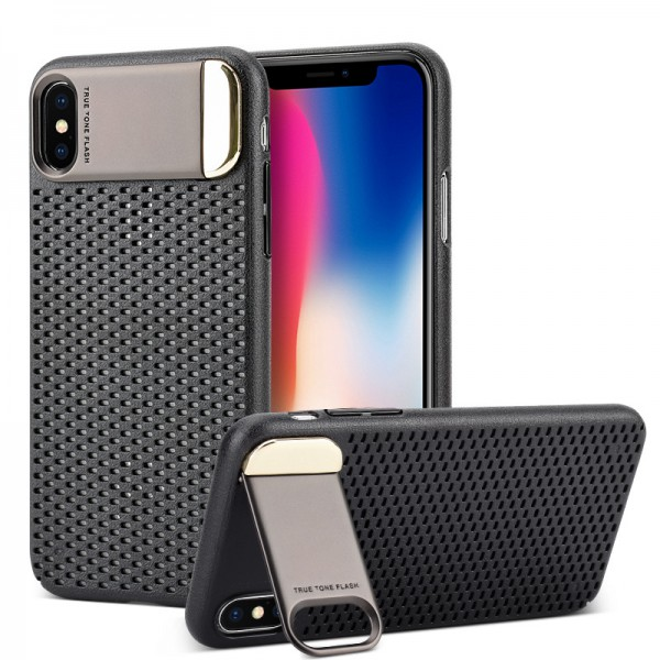 Husa Upzz Air-up Stand Pro iPhone X ,iphone 10 Black imagine itelmobile.ro 2021