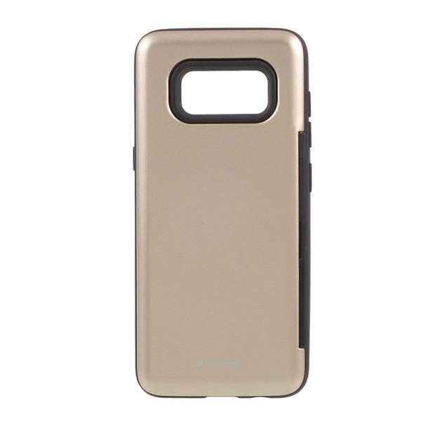 Husa Spate Anti Shock Mercury Happy Samsung S8 Gold Cu Suport De Card imagine itelmobile.ro 2021