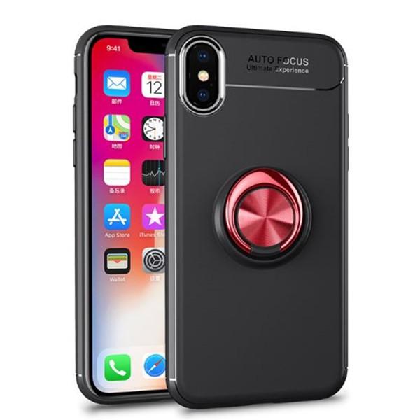 Husa Spate Silicon Premium Iring Metalic Upzz iPhone X, iPhone 10 Cu Ring Metalic Pe Spate Negru-red imagine itelmobile.ro 2021
