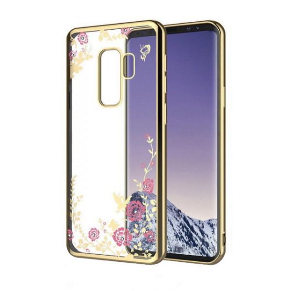 Husa Spate Flower Diamond Samsung J6 2018 Gold Silicon imagine itelmobile.ro 2021