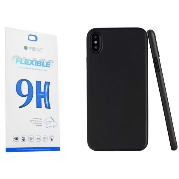 Set Husa Spate Upzz Ultra Slim iPhone Xs Max Negru Silicon Matte Si Folie Nano Glass Flexible 9h imagine itelmobile.ro 2021