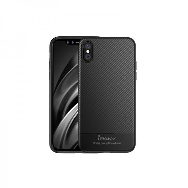 Husa Spate Ipaky Slim Carbon iPhone X, iPhone Xs Negru imagine itelmobile.ro 2021