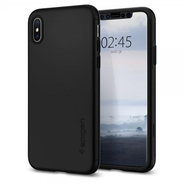 Husa Premium Spigen Thin Fit 360 iPhone Xs Max Cu Folie Sticla Black imagine itelmobile.ro 2021