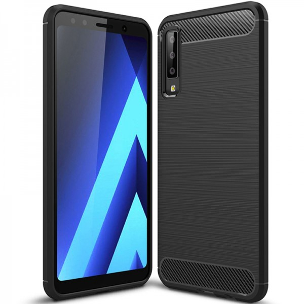 Husa Spate Forcell Carbon Pro Samsung A7 2018 Negru Silicon imagine itelmobile.ro 2021