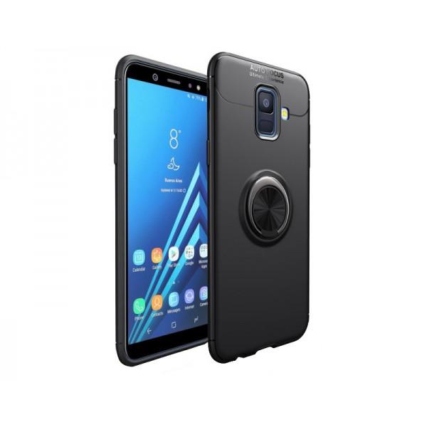 Husa Spate Silicon Premium Iring Metalic Upzz Samsung Galaxy J4+ Plus 2018 Cu Ring Metalic Pe Spate Negru imagine itelmobile.ro 2021