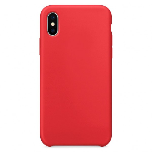 Husa Silicon Apple Style Fara Logo iPhone X/xs Interior Alcantara Red imagine itelmobile.ro 2021