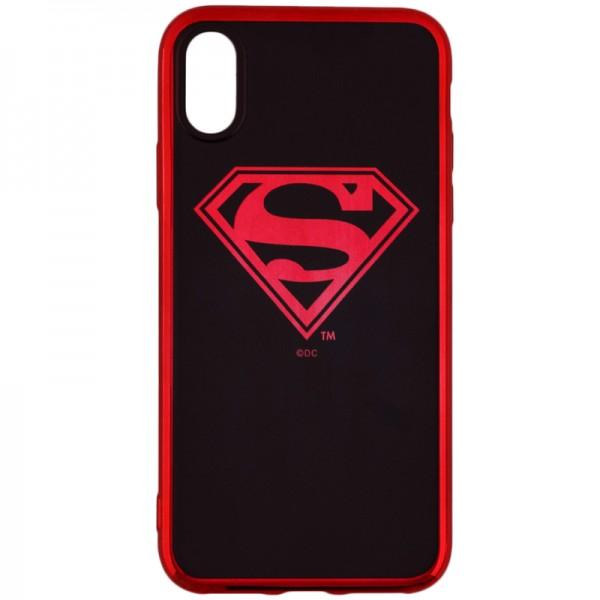 Husa Spate iPhone X /xs Dc Comics Superman Negru Rosu Chrome Licentiata imagine itelmobile.ro 2021