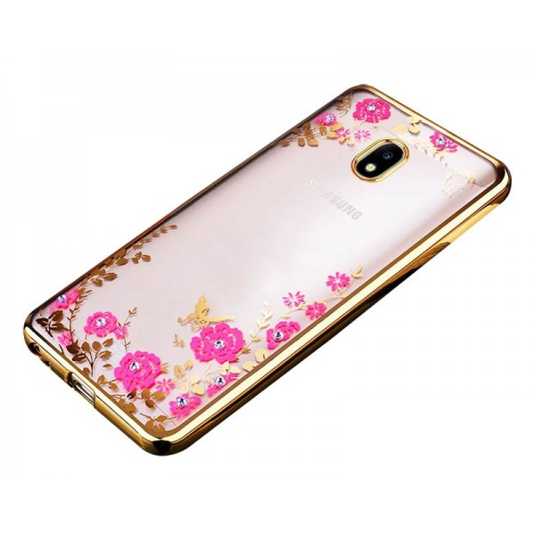 Husa Spate Flower Diamond Samsung J5 2016 Gold Silicon imagine itelmobile.ro 2021