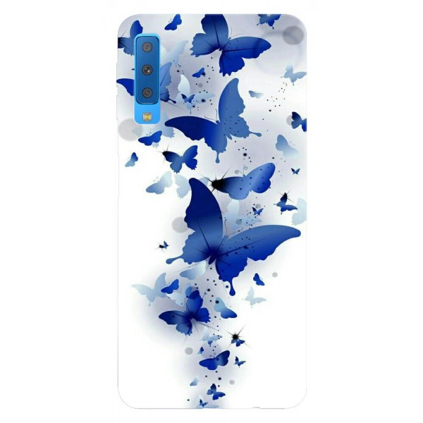 Husa Silicon Soft Upzz Print Samsung Galaxy A7 2018 Model Blue Butterflies imagine itelmobile.ro 2021