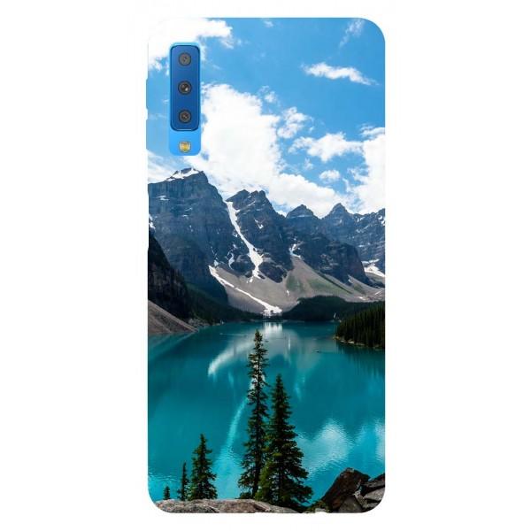 Husa Silicon Soft Upzz Print Samsung Galaxy A7 2018 Model Blue imagine itelmobile.ro 2021