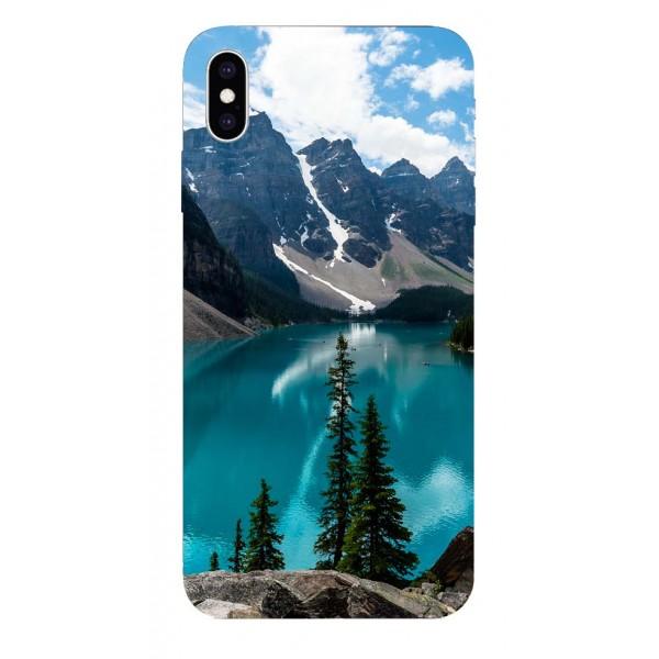 Husa Silicon Soft Upzz Print iPhone Xs Max Model Blue imagine itelmobile.ro 2021