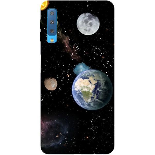 Husa Silicon Soft Upzz Print Samsung Galaxy A7 2018 Model Earth imagine itelmobile.ro 2021