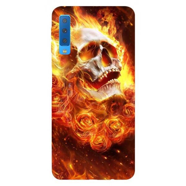 Husa Silicon Soft Upzz Print Samsung Galaxy A7 2018 Model Flame Skull imagine itelmobile.ro 2021