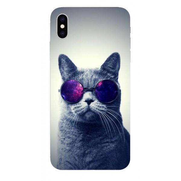 Husa Silicon Soft Upzz Print iPhone Xs Max Model Cool Cat imagine itelmobile.ro 2021