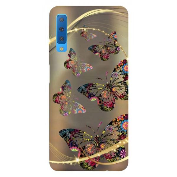 Husa Silicon Soft Upzz Print Samsung Galaxy A7 2018 Model Golden Buterfly imagine itelmobile.ro 2021