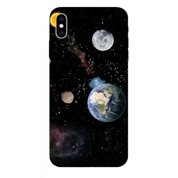 Husa Silicon Soft Upzz Print iPhone Xs Max Model Earth imagine itelmobile.ro 2021