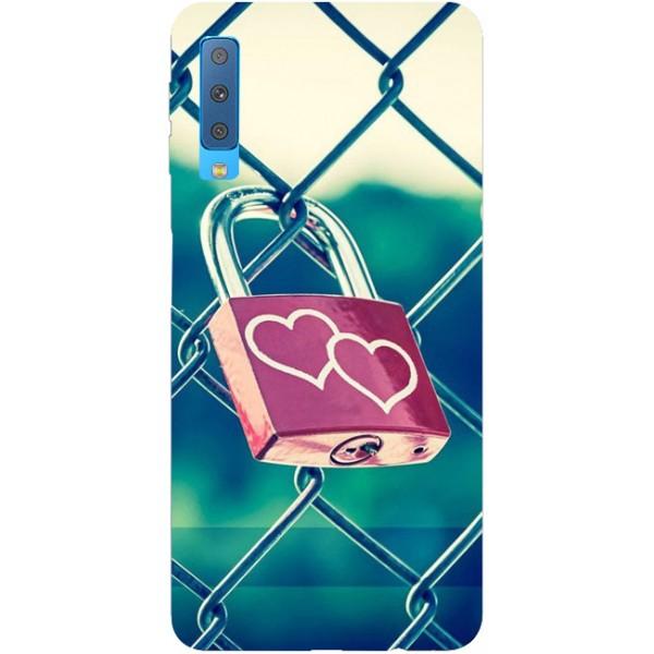 Husa Silicon Soft Upzz Print Samsung Galaxy A7 2018 Model Heart Lock imagine itelmobile.ro 2021