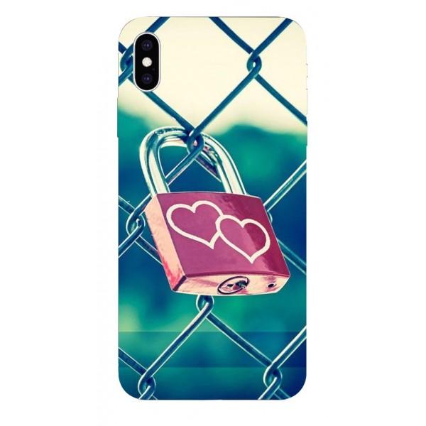 Husa Silicon Soft Upzz Print iPhone Xs Max Model Heart Lock imagine itelmobile.ro 2021