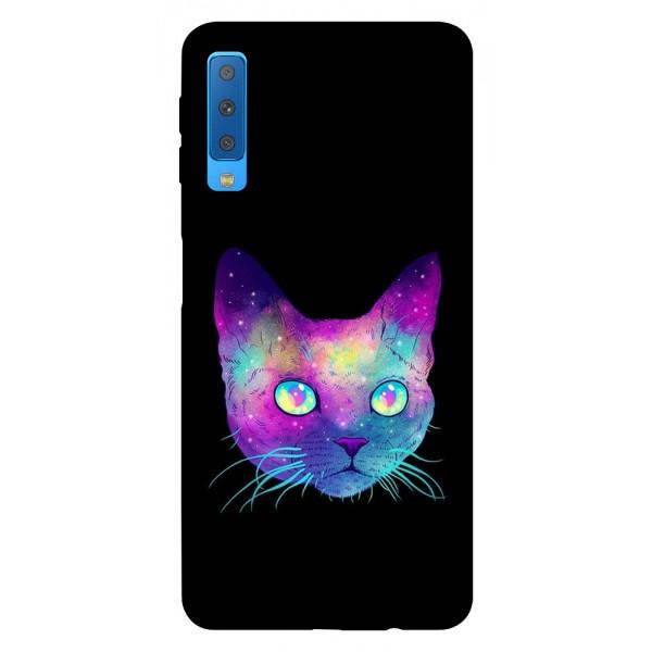 Husa Silicon Soft Upzz Print Samsung Galaxy A7 2018 Model Neon Cat imagine itelmobile.ro 2021