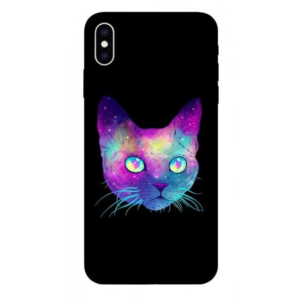Husa Silicon Soft Upzz Print iPhone Xs Max Model Neon Cat imagine itelmobile.ro 2021