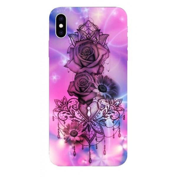 Husa Silicon Soft Upzz Print iPhone Xs Max Model Neon Rose imagine itelmobile.ro 2021