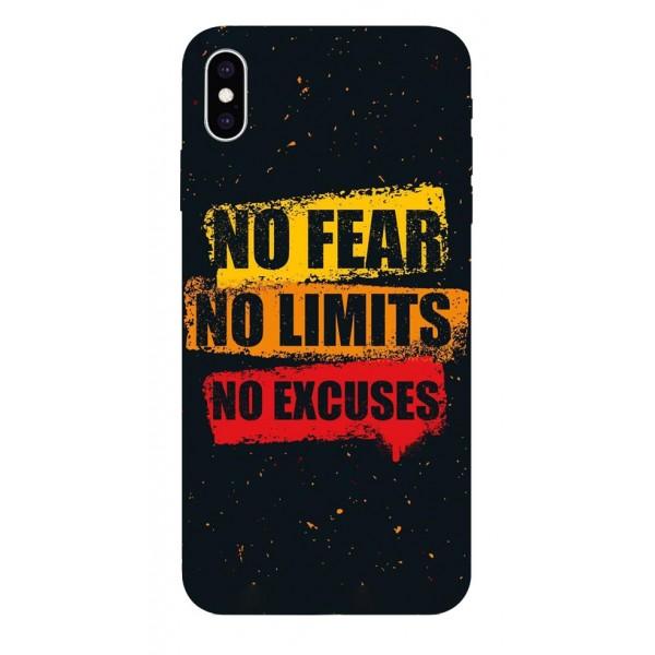 Husa Silicon Soft Upzz Print iPhone Xs Max Model No Fear imagine itelmobile.ro 2021