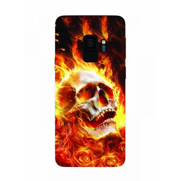 Husa Silicon Soft Upzz Print Samsung Galaxy S9 Model Flame Skull imagine itelmobile.ro 2021