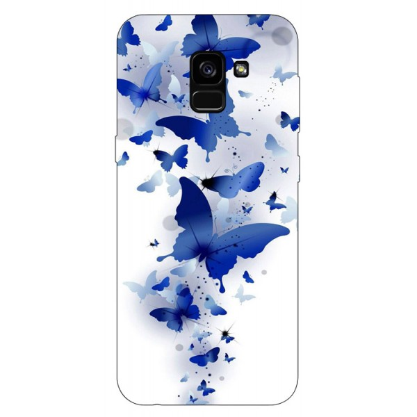 Husa Silicon Soft Upzz Print Samsung Galaxy A8 2018 Model Blue Butterflyes imagine itelmobile.ro 2021