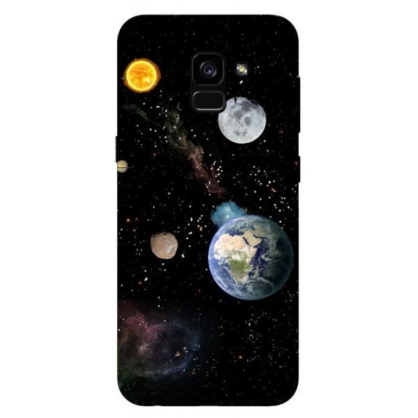Husa Silicon Soft Upzz Print Samsung Galaxy A8 2018 Model Earth imagine itelmobile.ro 2021