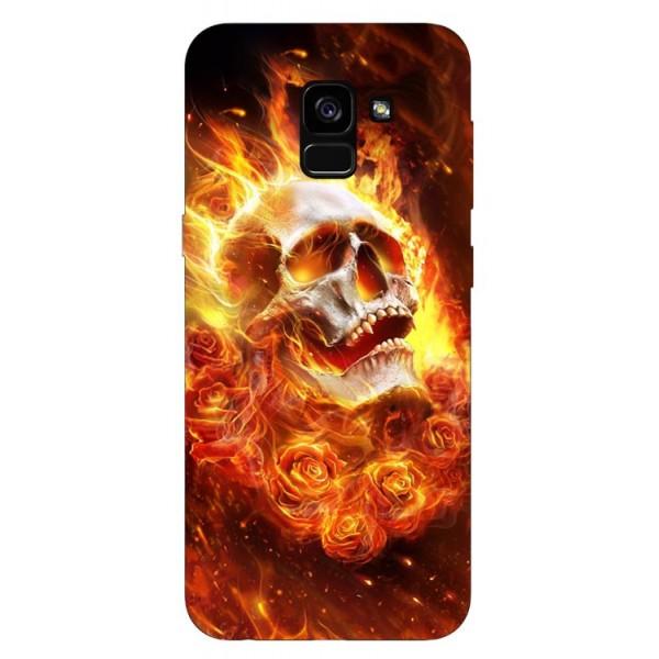 Husa Silicon Soft Upzz Print Samsung Galaxy A8 2018 Model Flame Skull imagine itelmobile.ro 2021