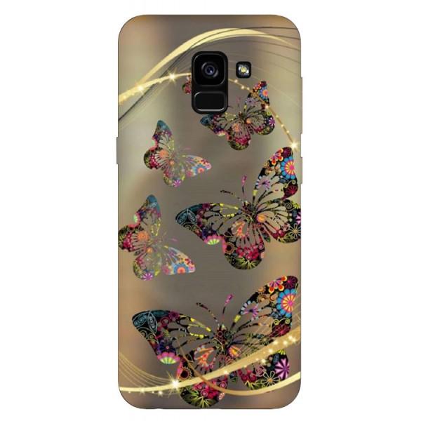Husa Silicon Soft Upzz Print Samsung Galaxy A8 2018 Model Golden Butterflys imagine itelmobile.ro 2021