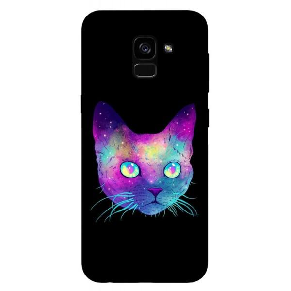 Husa Silicon Soft Upzz Print Samsung Galaxy A8 2018 Model Neon Cat imagine itelmobile.ro 2021