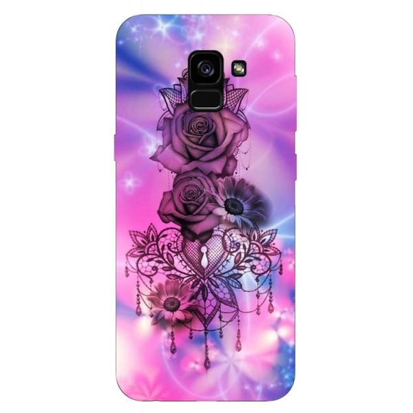 Husa Silicon Soft Upzz Print Samsung Galaxy A8 2018 Model Neon Rose imagine itelmobile.ro 2021