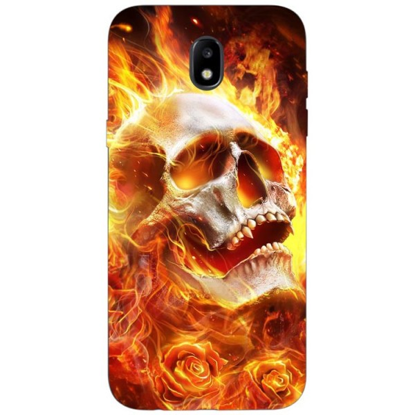 Husa Silicon Soft Upzz Print Samsung Galaxy J3 2017 Model Flame Skull imagine itelmobile.ro 2021