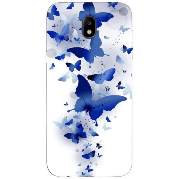 Husa Silicon Soft Upzz Print Samsung Galaxy J7 2017 Model Blue Butterfyes imagine itelmobile.ro 2021
