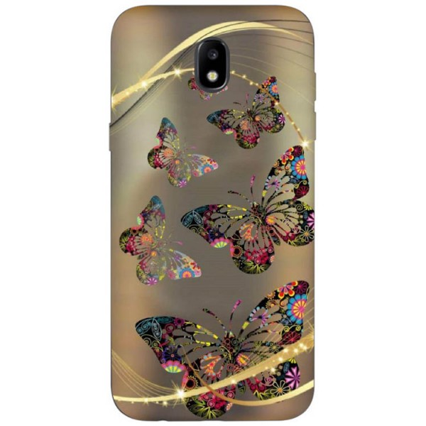 Husa Silicon Soft Upzz Print Samsung Galaxy J7 2017 Model Golden Butterflys imagine itelmobile.ro 2021