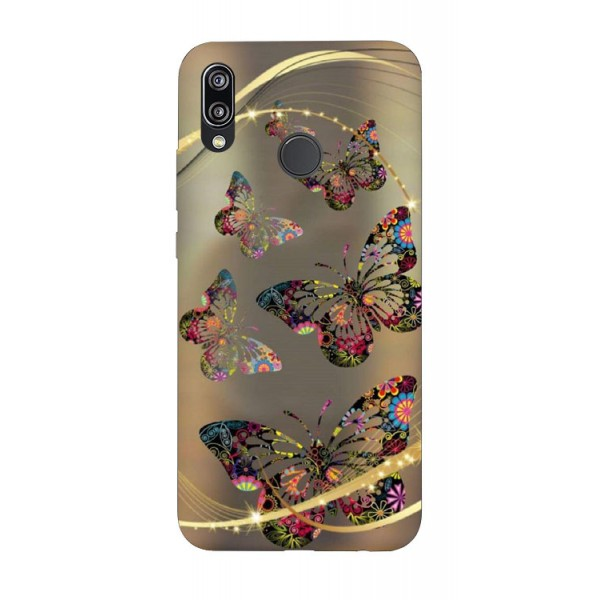 Husa Silicon Soft Upzz Print Huawei P20 Lite Model Golden Butterfly imagine itelmobile.ro 2021