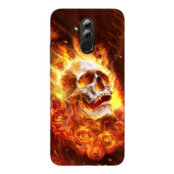 Husa Silicon Soft Upzz Print Huawei Mate 20 Lite Model Flame Skull imagine itelmobile.ro 2021