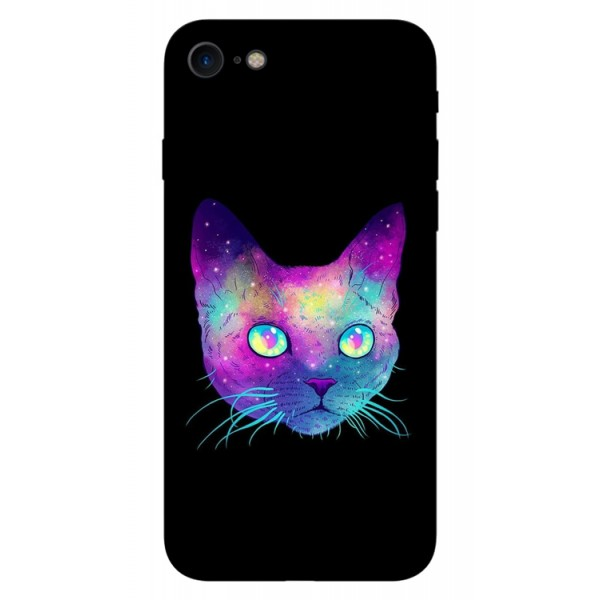 Husa Silicon Soft Upzz Print iPhone 7/iphone 8 Model Neon Cat imagine itelmobile.ro 2021