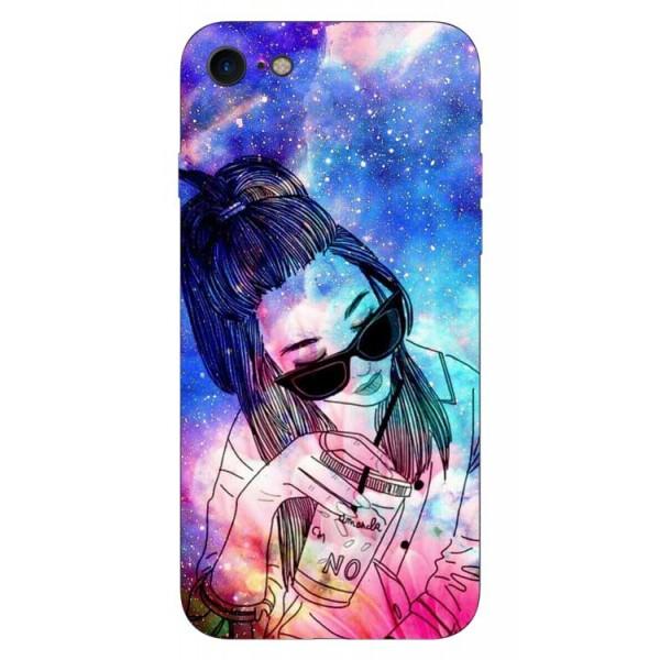 Husa Silicon Soft Upzz Print iPhone 7/iphone 8 Model Universe Girl imagine itelmobile.ro 2021