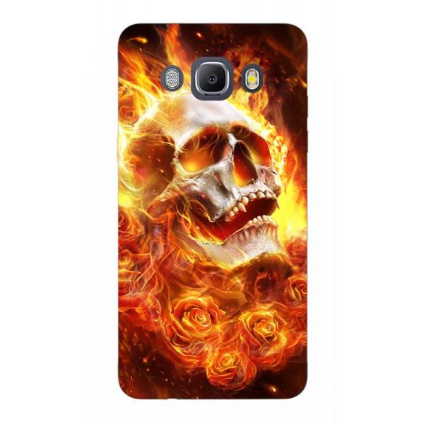 Husa Silicon Soft Upzz Print Samsung J5 2016 Model Flame Skull imagine itelmobile.ro 2021
