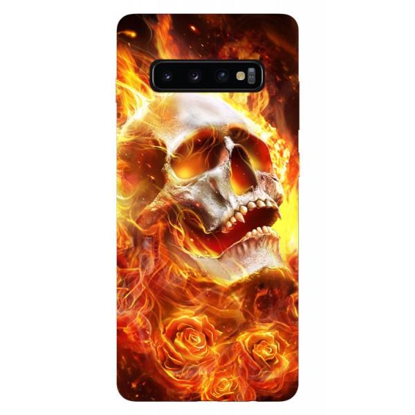 Husa Silicon Soft Upzz Print Samsung Galaxy S10 Model Flame Skull imagine itelmobile.ro 2021