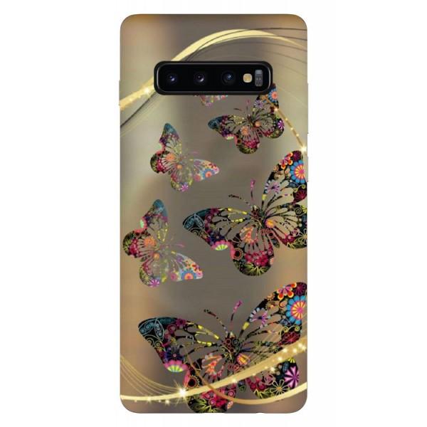 Husa Silicon Soft Upzz Print Samsung Galaxy S10 Model Golden Butterfly imagine itelmobile.ro 2021