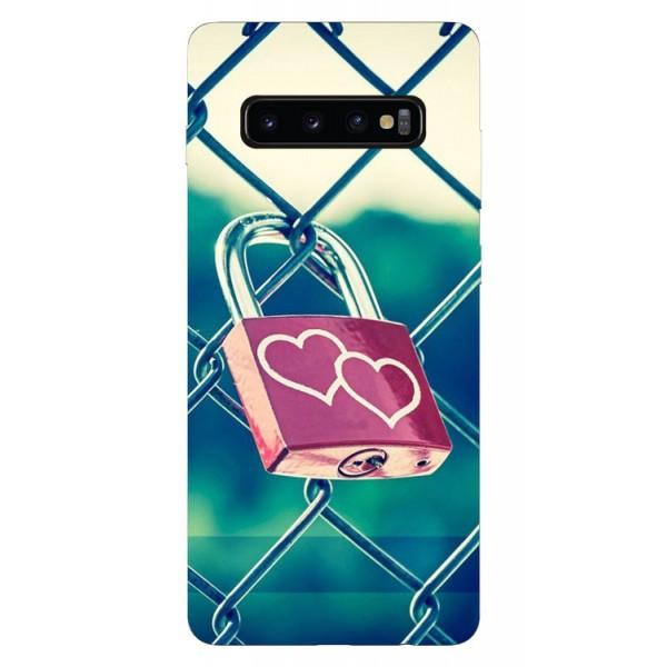 Husa Silicon Soft Upzz Print Samsung Galaxy S10 Model Heart Lock imagine itelmobile.ro 2021