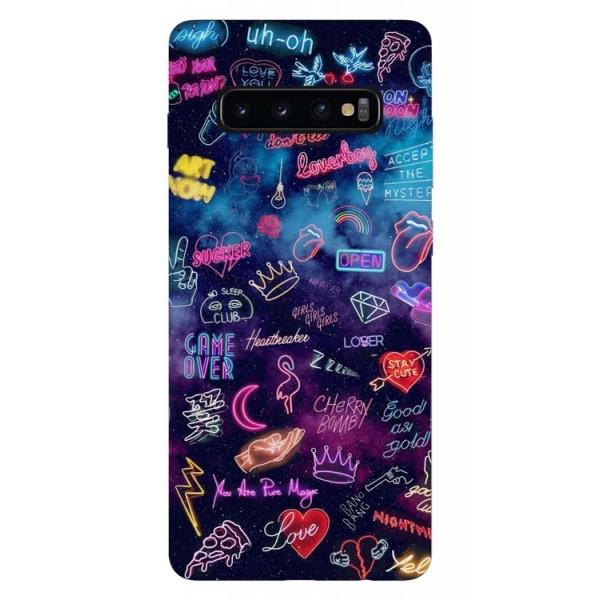 Husa Silicon Soft Upzz Print Samsung Galaxy S10 Model Neon imagine itelmobile.ro 2021