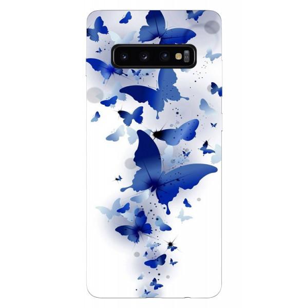 Husa Silicon Soft Upzz Print Samsung Galaxy S10 Plus Model Blue Butterflyes imagine itelmobile.ro 2021
